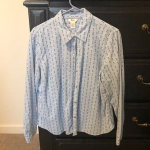 Women's corduroy light blue long sleep top.